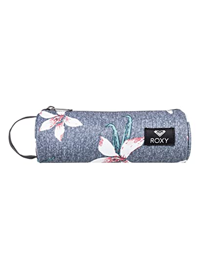 Roxy Off The Wall Estuche Escolar, Mujer, Rosa/Gris (Charcoal Heather Flower