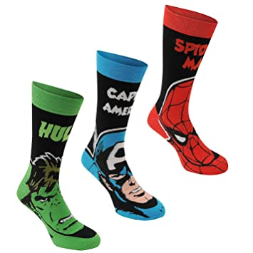 Marvel Comics tripulación Calcetines para Hombre 3 Pack Negro/Multi Carácter calcetín: Amazon.es: Deportes y aire libre