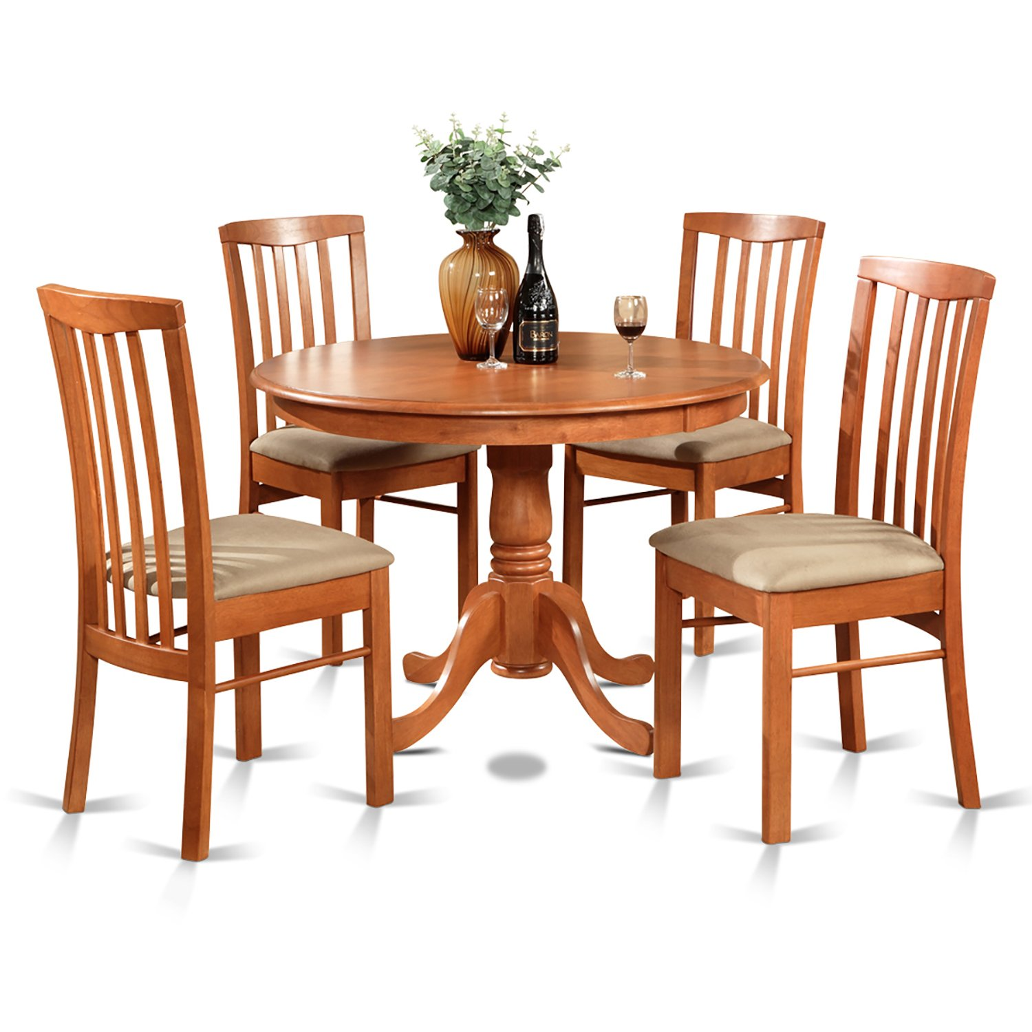 East West Furniture HART5-CHR-C 5-Piece Kitchen Table Set - Cherry Finish