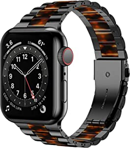 iiteeology Compatible with Apple Watch Band 44mm 42mm, Resin Stainless Steel Metal Link Wristbands for iWatch SE Series 6 5 4 3 2 1 - Black+Dark Amber