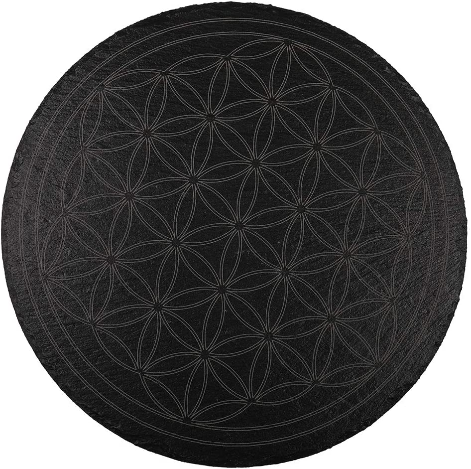 Flower of Life Crystal Grid Altar Tile - Sacred Geometry Gridding - Wiccan Ceremony Pagan Rituals - Meditation, Manifestation, Ritual Work, Ancient Occult Practice