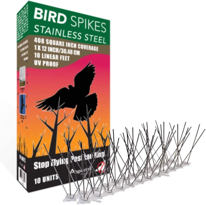 Aspectek Repelente de aves de Acero Inoxidable Kit de puas, 10 pies (3) Metros, Perfecta Disuasión Para Aves (Sin pegamento)
