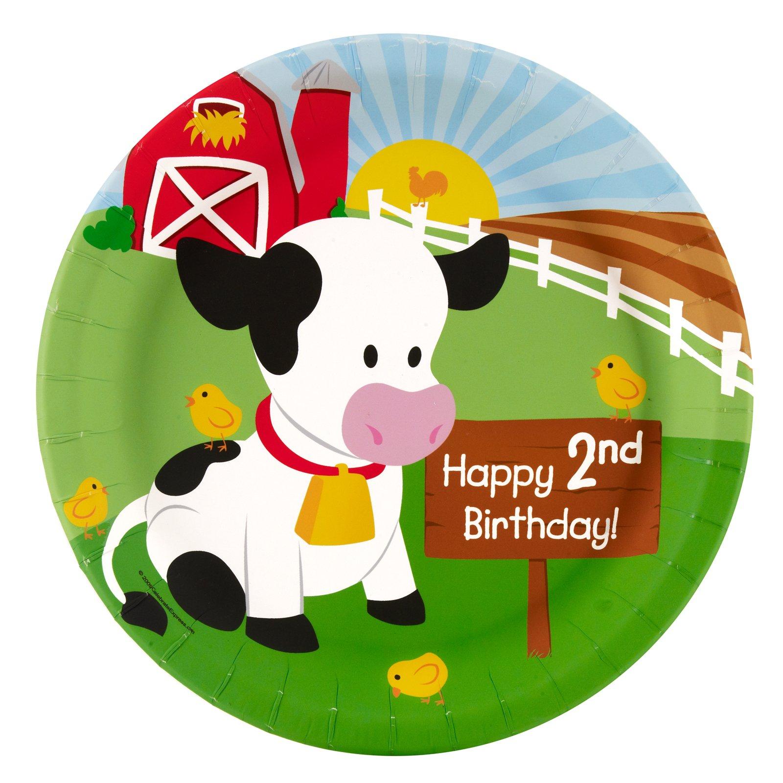 Farm Animal Party Supplies - 2nd Birthday Dinner Plates (8)