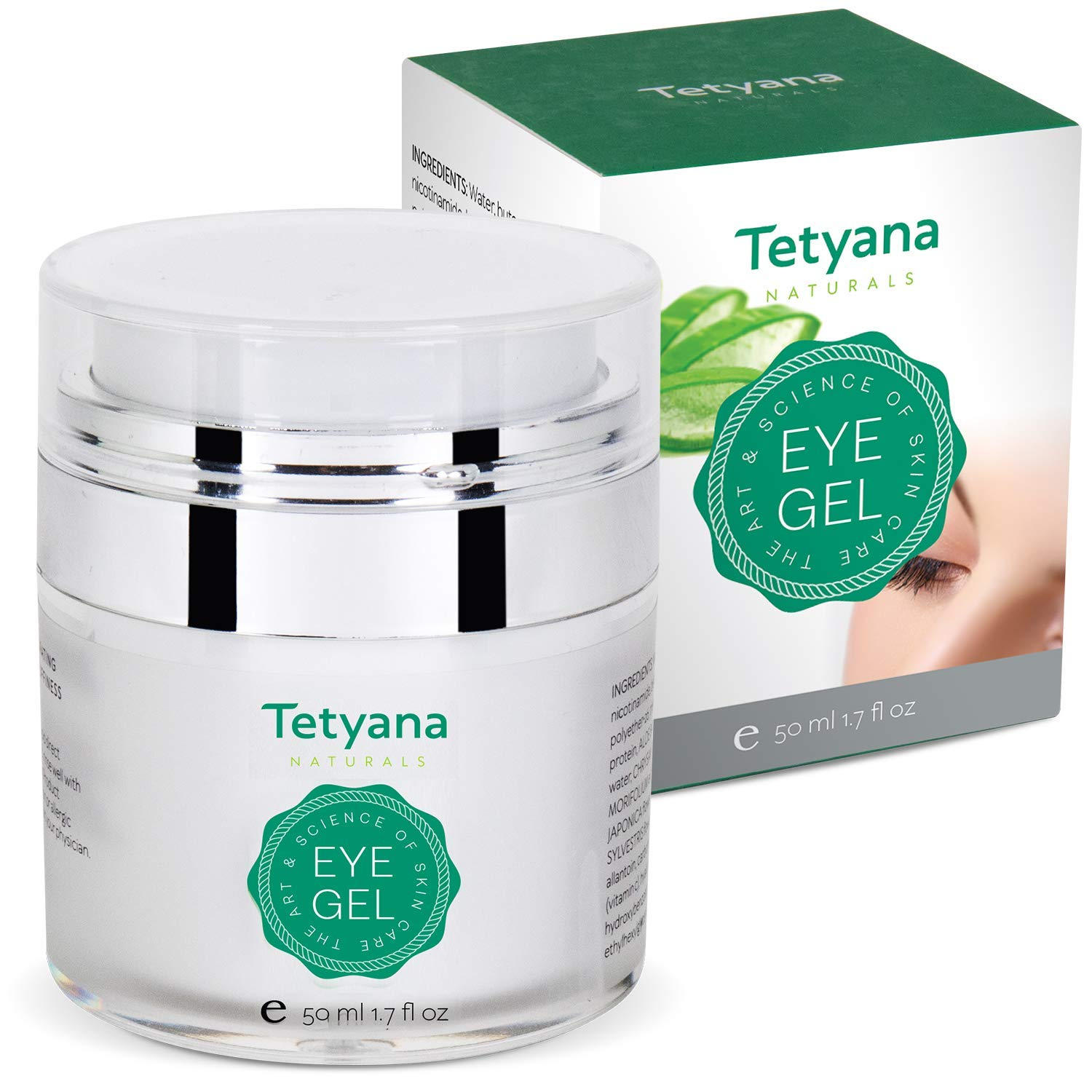 Tetyana naturals Eye Gel with Allantoin, Hyaluronic acid for Puffiness, Wrinkles, Dark Circles (50ml) by Tetyana naturals