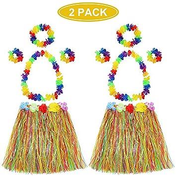 Faldas hawaianas elásticas de hula con flor de leis, pulseras de ...