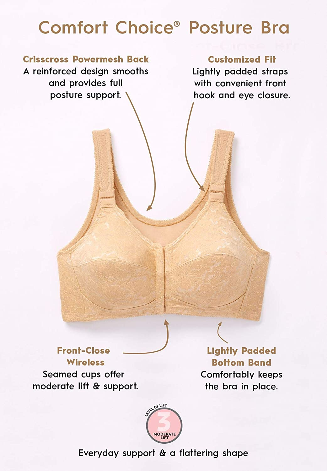 2789424568 Comfort Choice Women s Plus Size Lace Posture Bra at Amazon Women s  Clothing store