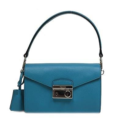 4fd18592c2b016 Prada Saffiano Lux Mini Leather Crossbody Shoulder Bag 1BD662 Turchese  Blue: Handbags: Amazon.com