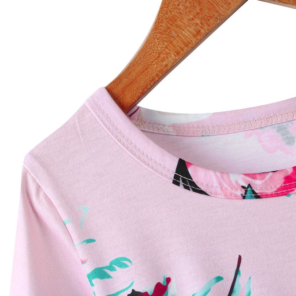 Girls Flower Print Dress 3/4 Sleeve Pleated Casual Swing Long Maxi Dress with Pockets Summer Spring Dresses 2-5Y (Pink, 3T (2-3 Years)) by Cealu (Image #6)