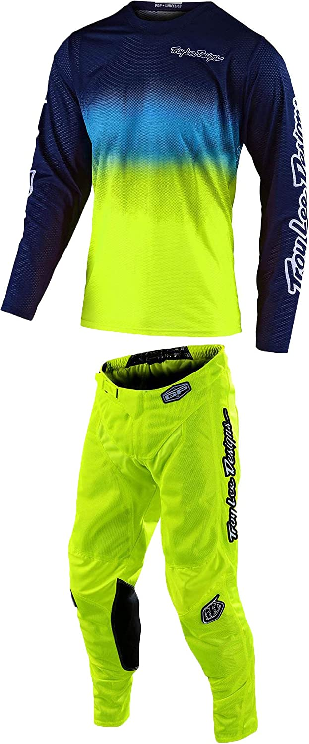 Troy Lee Designs GP AIR STAIND NAVY//YELLOW, Small Jersey // 28 Pant