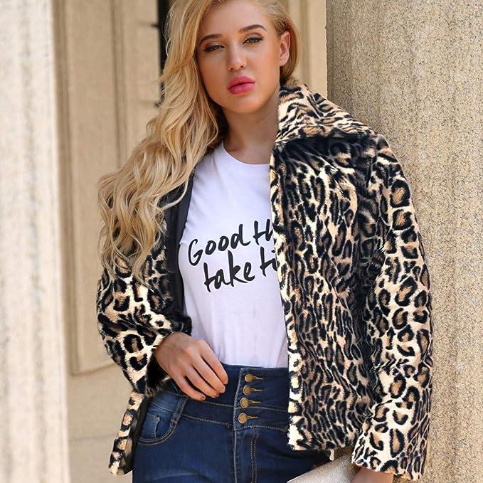 Rucan Womens Leopard Warm Artificial Wool Coat Lapel Jacket Winter Parka Outerwear at Amazon Womens Coats Shop