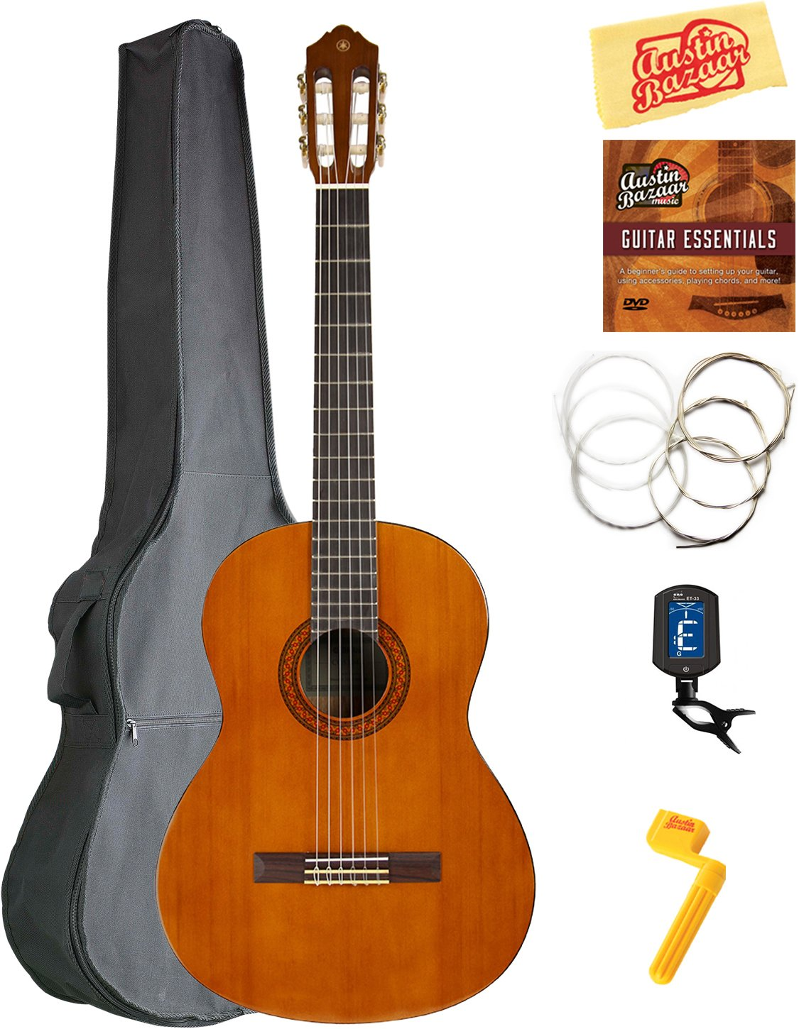 Yamaha C40 Classical Guitar Bundle with Gig Bag, Tuner, Strings, String Winder, Austin Bazaar Instructional DVD, and Polishing Cloth by Yamaha