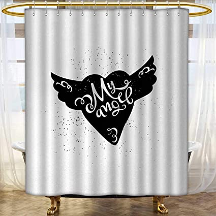Romantic Shower Curtains Mildew Resistant Cartoon Heart With Wings My Angel Stylized Lettering Black And White