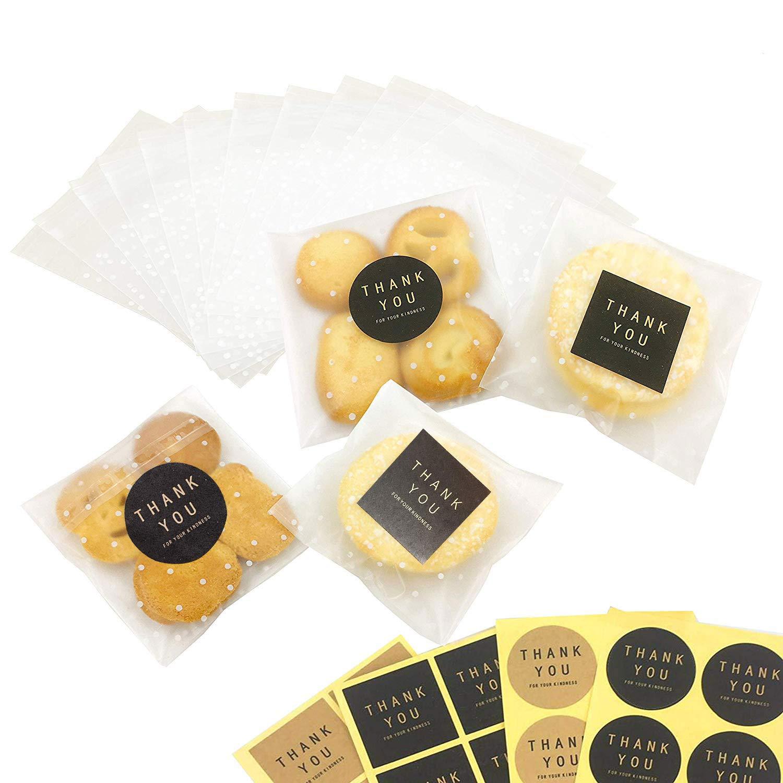 11.5 * 11.5+3cm Bolsas de plástico autoadhesivas para galletas (100 bolsas + 102 etiquetas de agradecimiento/Thank you), diseño de lunares, color blanco CozofLuv DIY0004THX