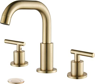 myhb 2 handle 8 inch widespread bathroom faucet for 3 hole sink brushed gold sh001bg