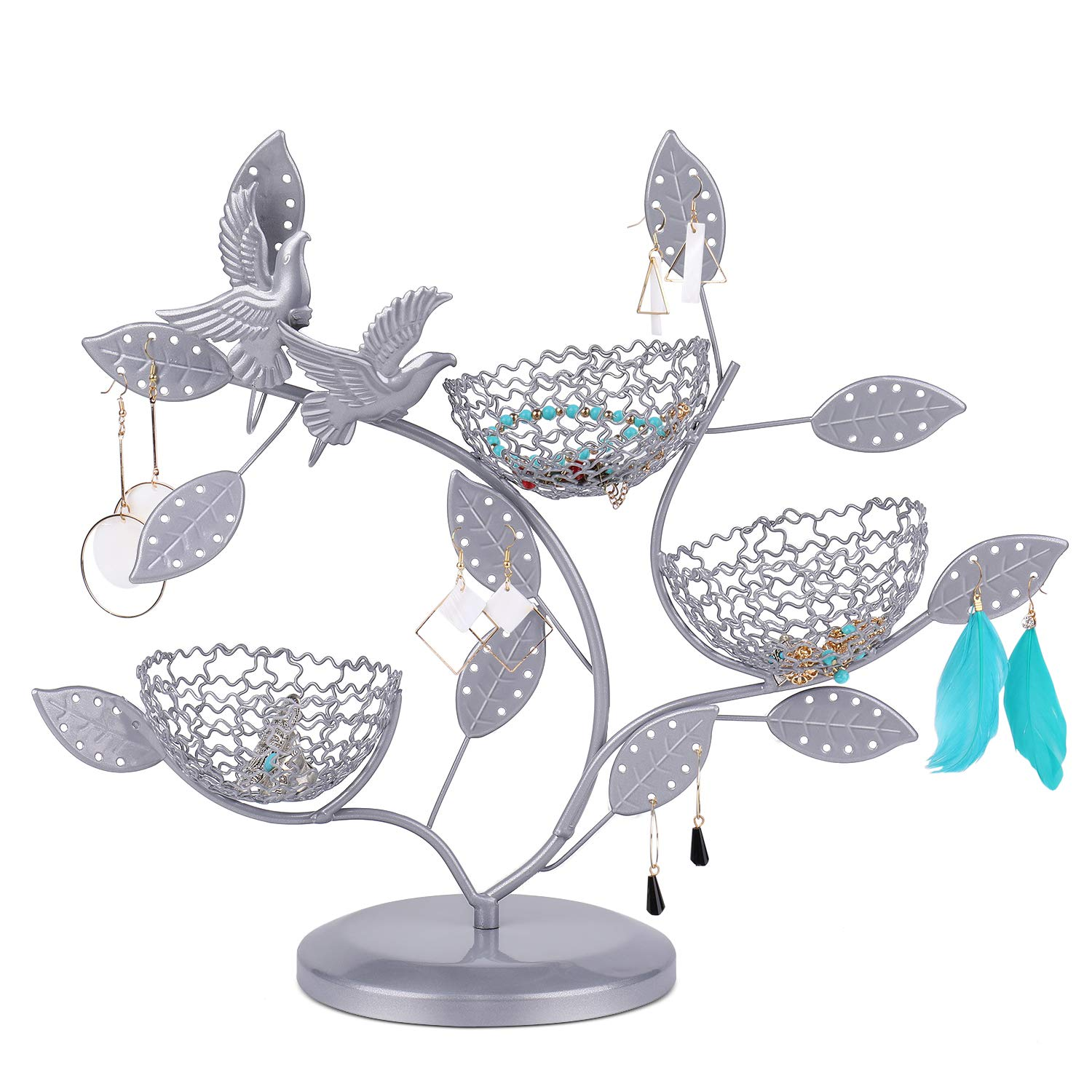 Earring Necklace Holder Rack Organizer Tower Table Top Decor Flexzion Jewelry Display Bird Nest Tree Stand Silver Ideal for Bangles Pendants Anklet