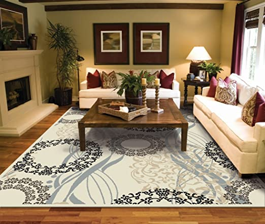 Amazon.com: Large Rugs for Living Room 8x10 Cream Area Rugs 8x10 ...