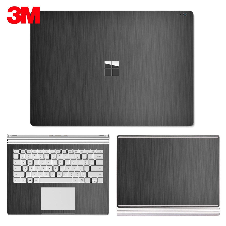 SopiGuard Microsoft Surface Book 2 (15'') Carbon Fiber Precision Edge-to-Edge Coverage Easy-to-Apply Vinyl Skin Sticker Wrap (3M Brushed Gunmetal Gray)