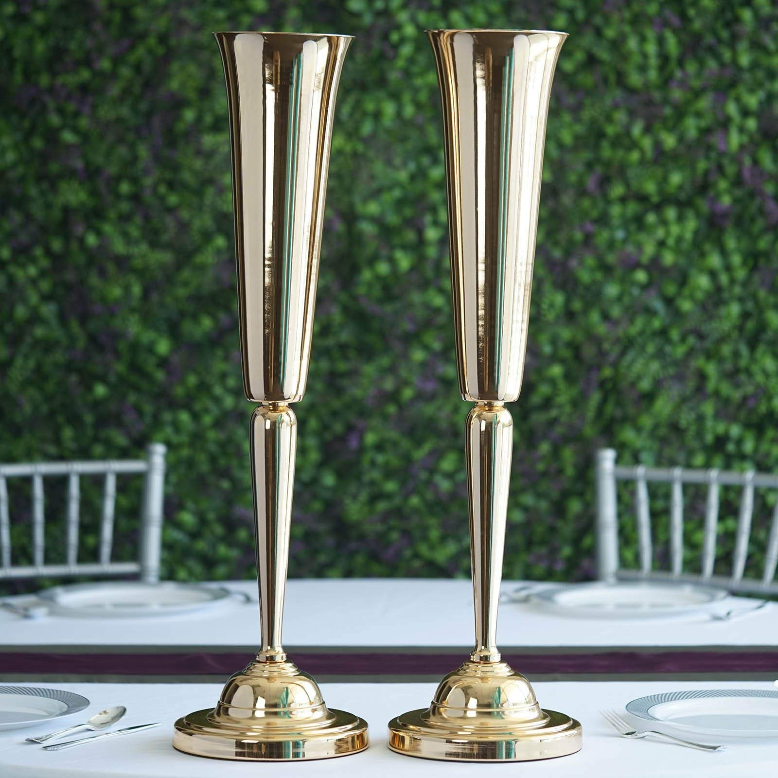Efavormart 2 Pack 29'' Sleek Metallic Gold Reversible Votive Candle Holder Floral Vase Feather Ball Centerpiece Stand for Events