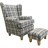 Slate Grey Tartan Fabric Queen Anne With a Deep Base design And A Matching Footstool...wing back fireside high back chair. Ideal bedroom or living room furniture