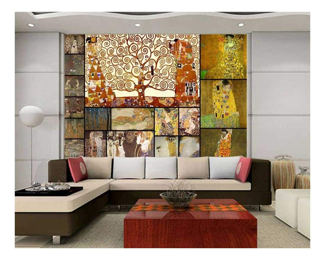 Peel and Stick Wallpapaer Famous Paintings Collage by Gustav Klimt Removable Large Wall Mural Creative Wall Decal