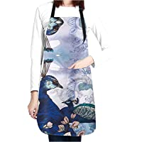 NVJUI JUFOPL Peacock Adjustable Apron with 2 Pockets (Purple)