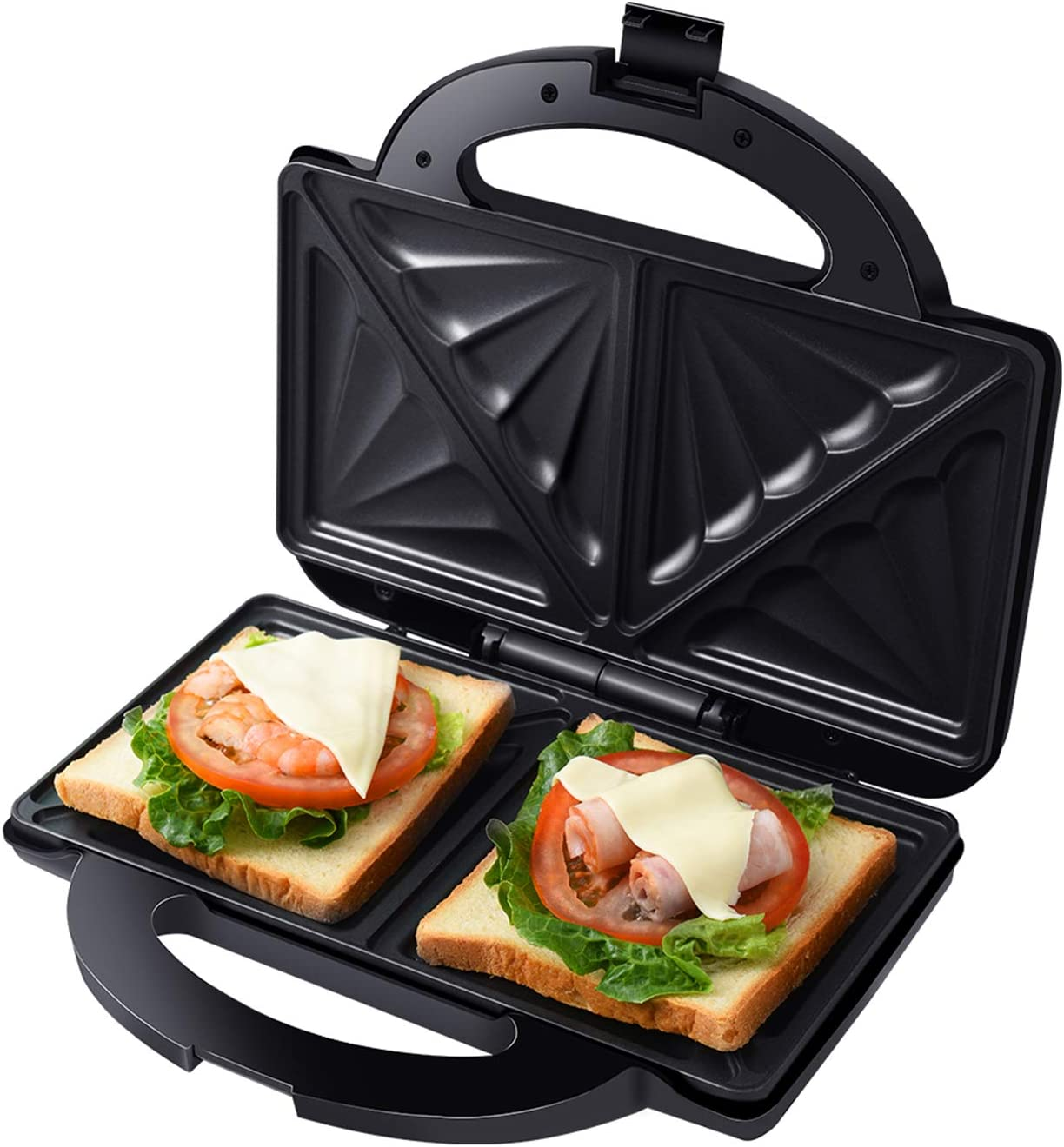Auertech Sandwich Maker, Toaster and Electric Panini Maker Omelette Grilled Cheese Machine with Extra-Large Non-Stick Plates, Indicator Lights, Cool Touch Handle (Double Sandwich)