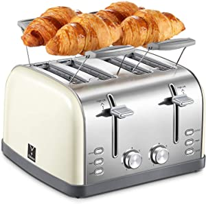 Yabano 4 Slice Toaster, Bagel Toaster with 7 Bread Shade Settings and Warming Rack, 4 Extra Wide Slots, Defrost/Bagel/Cancel Function, Removable Crumb Tray, Stainless Steel Toaster, Yellow
