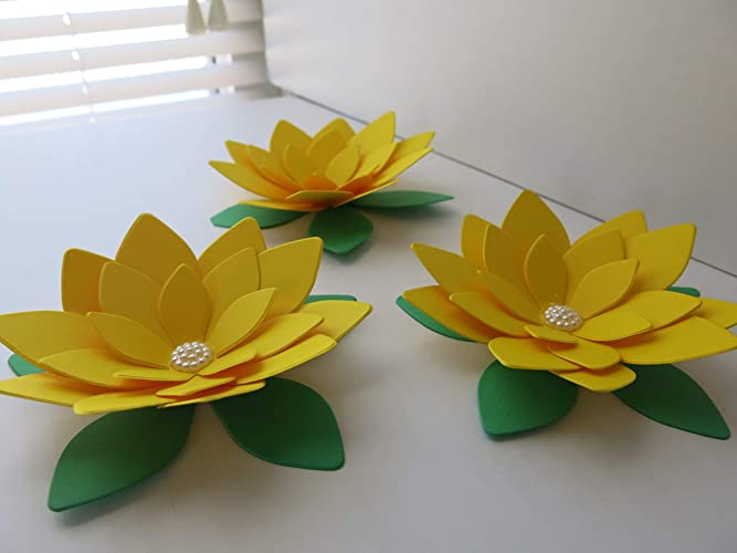 Amazoncom Bright Yellow Lotus Flowers 3 Paper Water Lilies 4