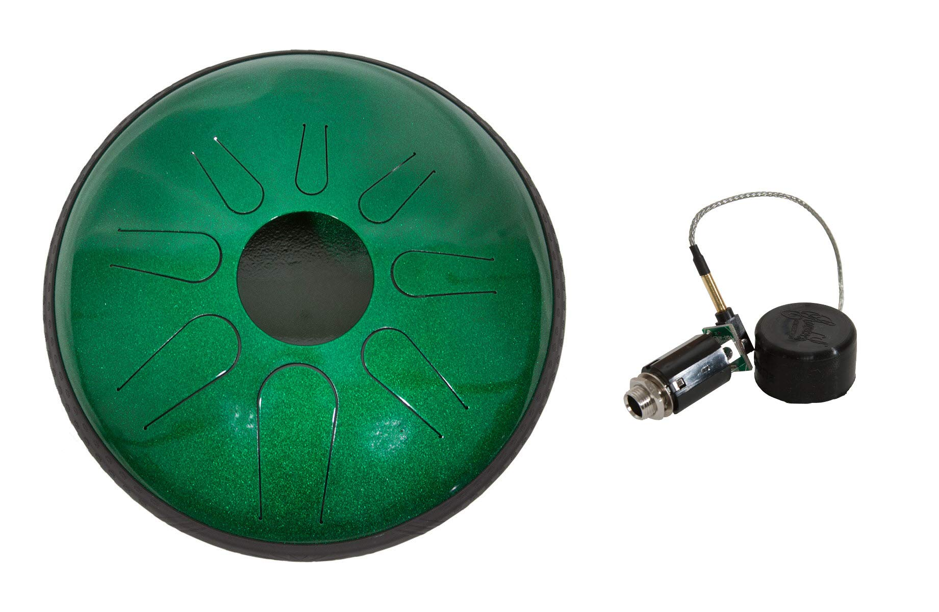 Idiopan Dominus Steel Drum Package Includes: 12'' Tunable Steel Tongue Drum - Emerald Green + Roosebeck Electric Pickup - 150hz