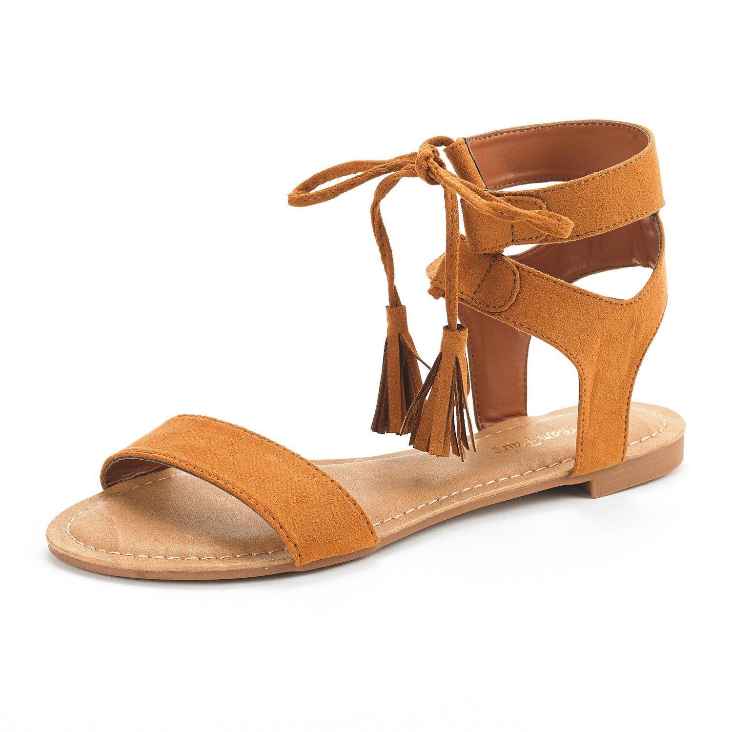 DREAM PAIRS Women's Bowtie Tan Ankle Strap Gladiator Flat Sandals Size 9 M US