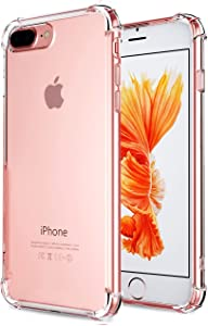 CaseHQ iPhone 7 Plus Case, iPhone 8 Plus Case,Crystal Clear Shock Absorption Bumper Slim Fit,Heavy Duty Protection TPU Cover Case for Apple iPhone 7 Plus (2016)/iPhone 8 Plus (2017) -Clear
