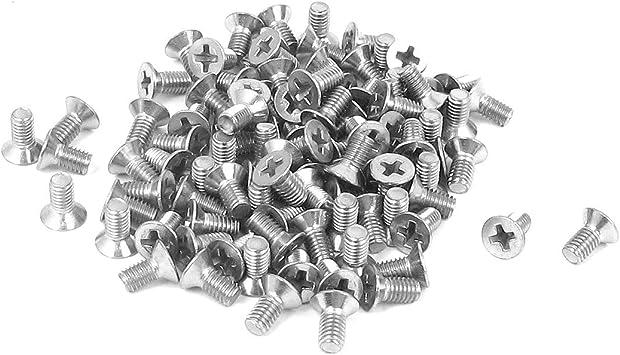 Yootop 100Pcs M4x10mm 304 Stainless Steel Phillips Pan Head Machine Screw Bolt Full Thread Plain Finish Fastener