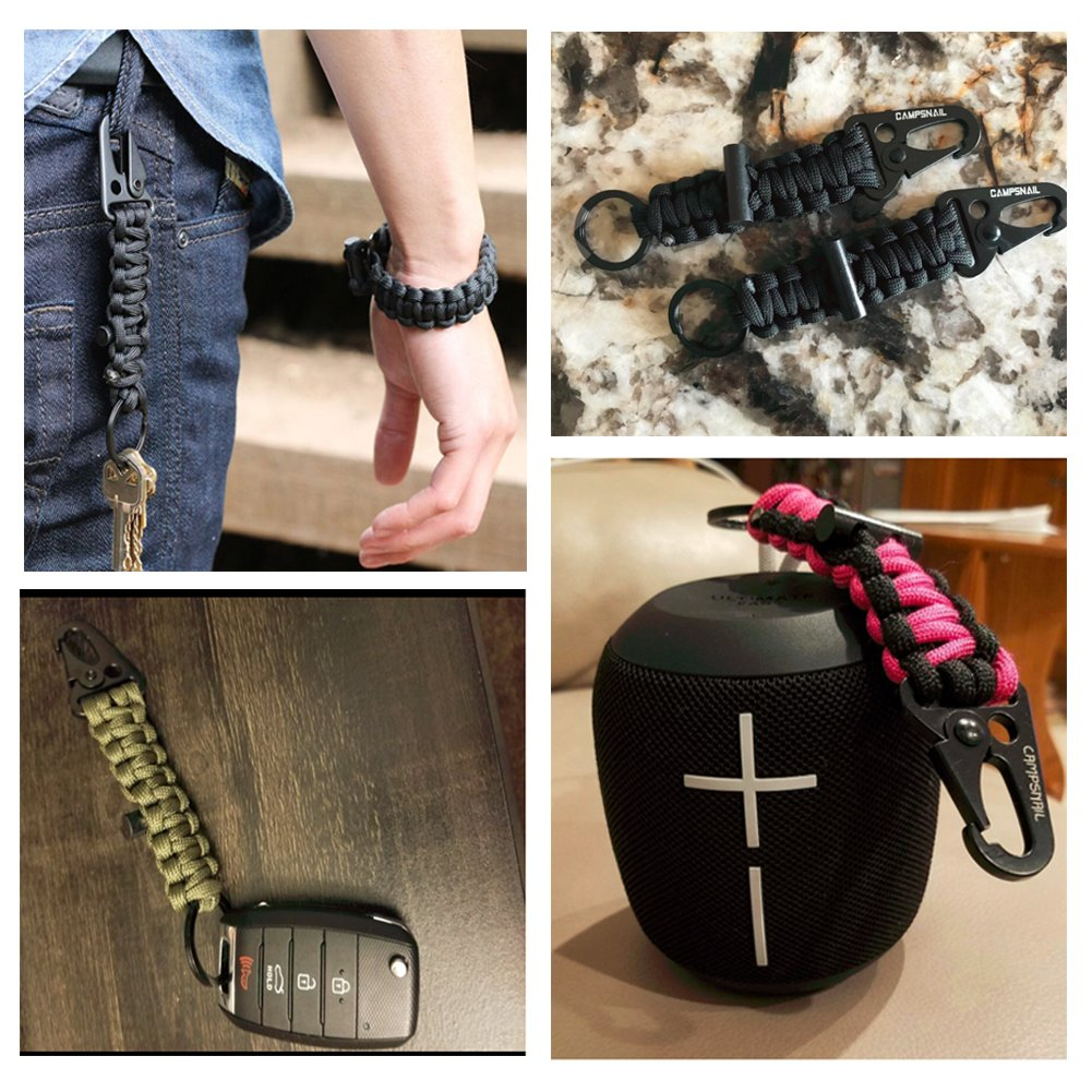 Survival Kit EDC Paracord Keychain First Aid Kit Survival Key Chain with a Carabiner and Flint for Outdoors