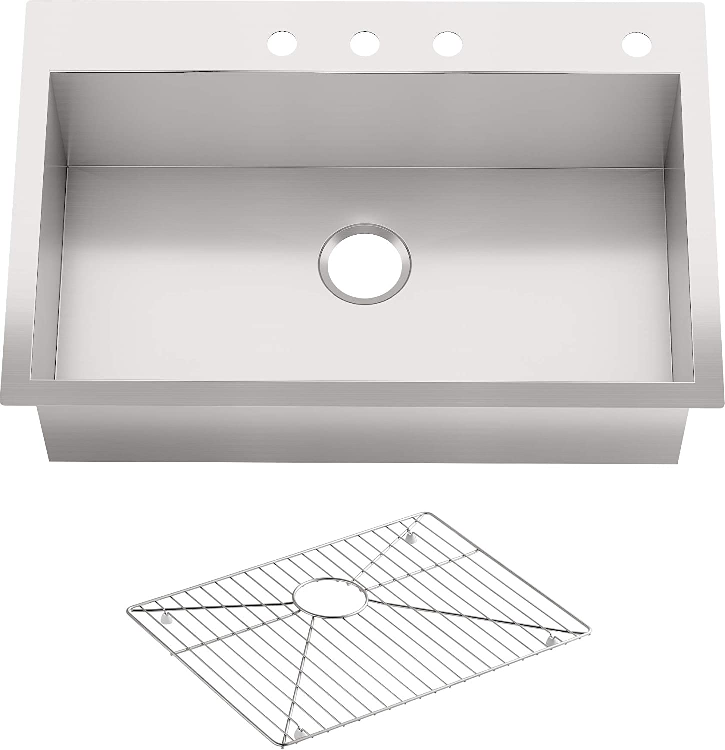 Kohler Vault 33 Single Bowl 18 Gauge Stainless Steel Kitchen Sink With Four Faucet Holes K 3821 4 Na Drop In Or Undermount Installation 9 Inch Bowl Single Bowl Sinks Amazon Com