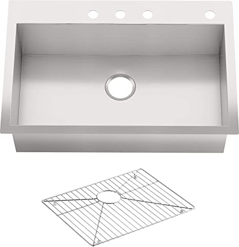 Kohler Vault 33 Single Bowl 18 Gauge Stainless Steel Kitchen Sink With Four Faucet Holes K 3821 4 Na Drop In Or Undermount Installation 9 Inch Bowl