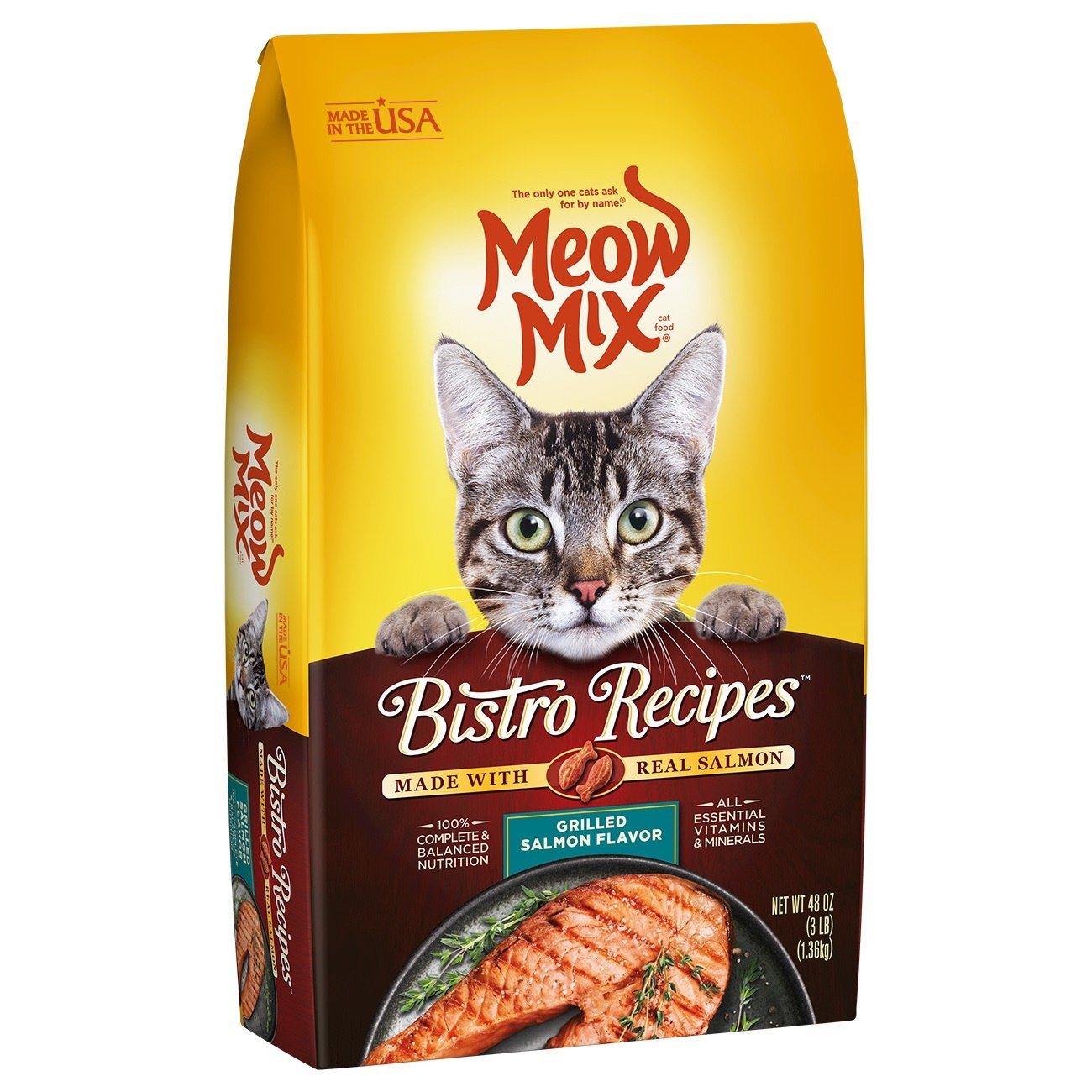 Meow Mix Bistro Recipes Grilled Salmon Flavor Dry Cat Food, 3 Lb (Pack Of 4) by Meow Mix