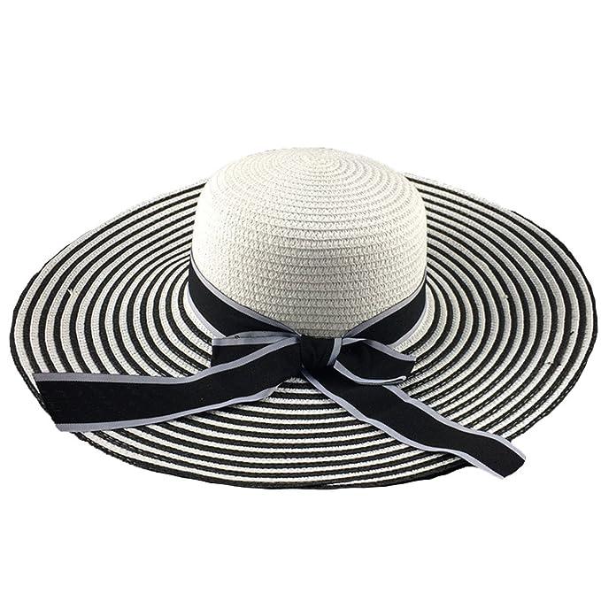 NIAISI Signore Striscia Pieghevole Paglia Di Estate Spiaggia Di Sole Di  Modo Cappello Floscio Cappello Tesa Larga Per Le Donne 38a20eafcabf