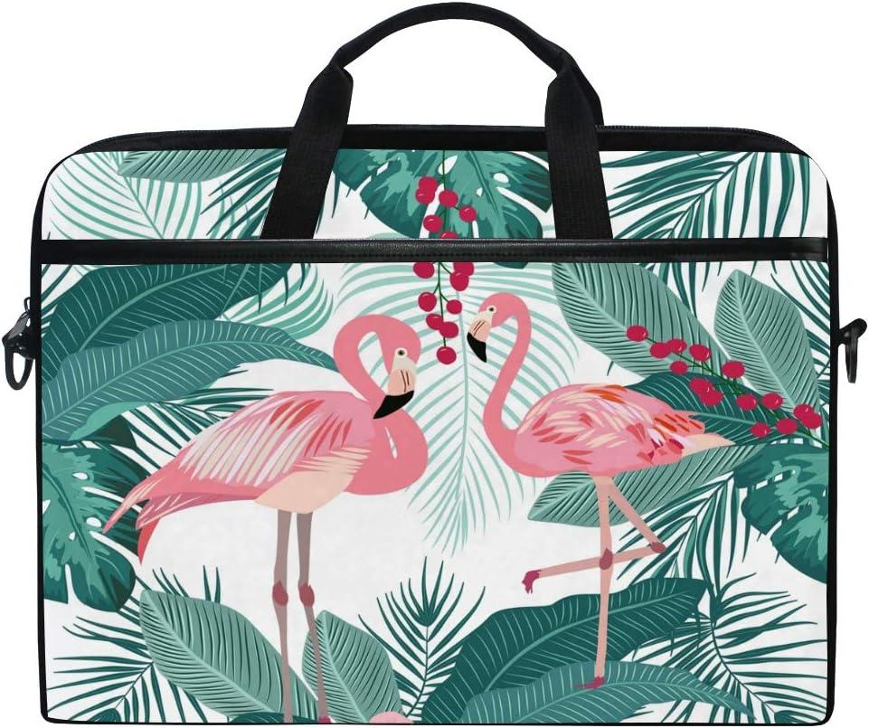 MNSRUU 14.5-15.4 Inch Laptop Case,Seamless Pattern of Flamingo Leaves Monstera Shoulder Bag, Multi-Functional Notebook Sleeve Carrying Case with Adjustable Shoulder Strap