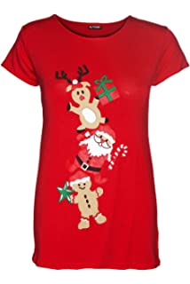 dc0de1620 Be Jealous Womens Christmas Cap Sleeve Gingerbread Climb Candy Ladies Xmas  Stretchy T Shirt UK Plus