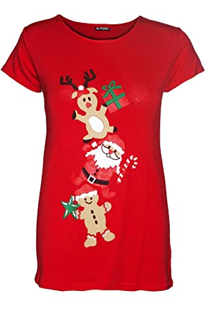 d2ec581be Be Jealous Womens Christmas Cap Sleeve Gingerbread Climb Candy Ladies Xmas  Stretchy T Shirt UK Plus Size 8-26: Amazon.co.uk: Clothing