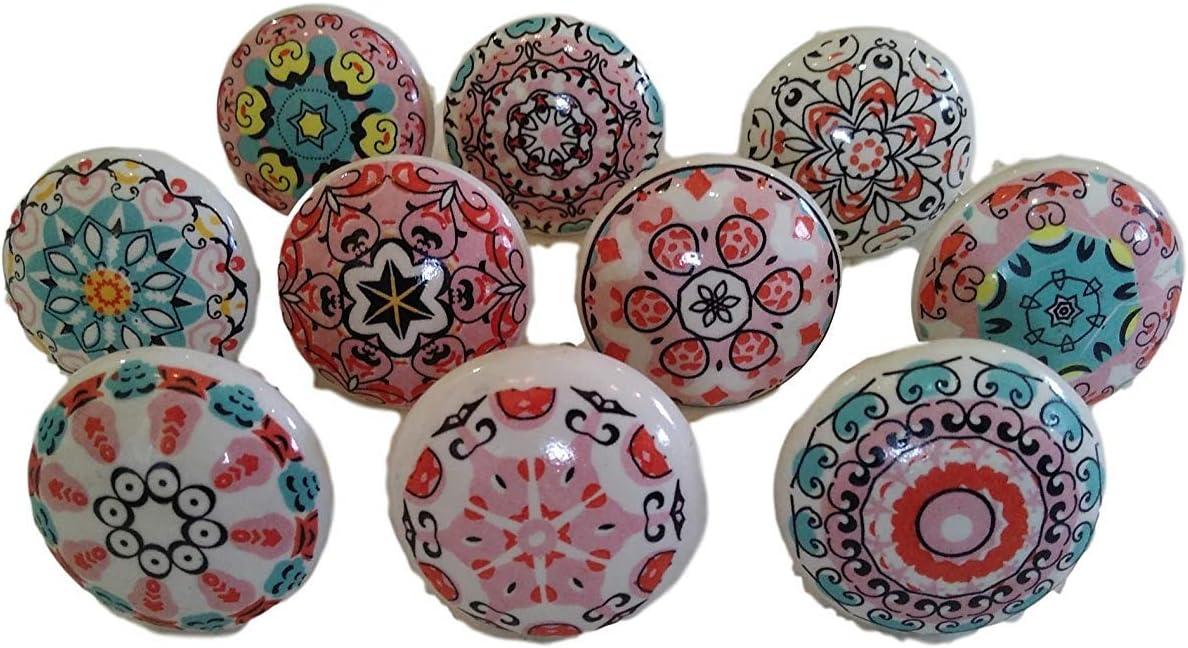 Colorful Mandala Ceramic Drawers Knobs Door Cupboard Pulls Knob cabinet puller