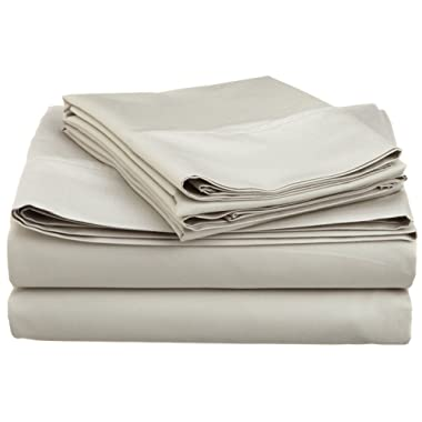 Cotton Blend 600 Thread Count, Deep Pocket, Soft, Wrinkle Resistant 4-Piece Queen Bed Sheet Set, Solid Stone