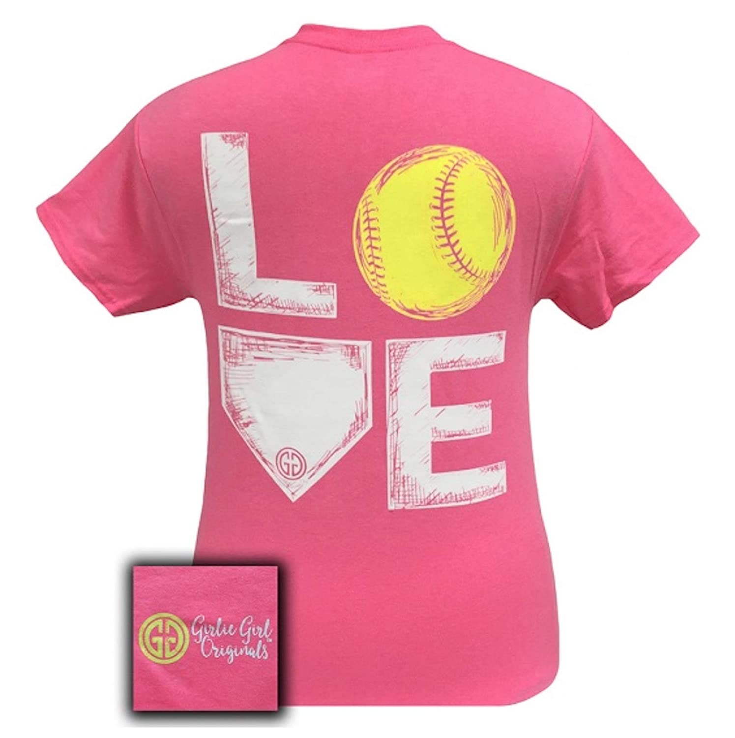ec59ff45 Amazon.com: Girlie Girl Originals Love Softball T-Shirt Safety Pink, Small:  Clothing