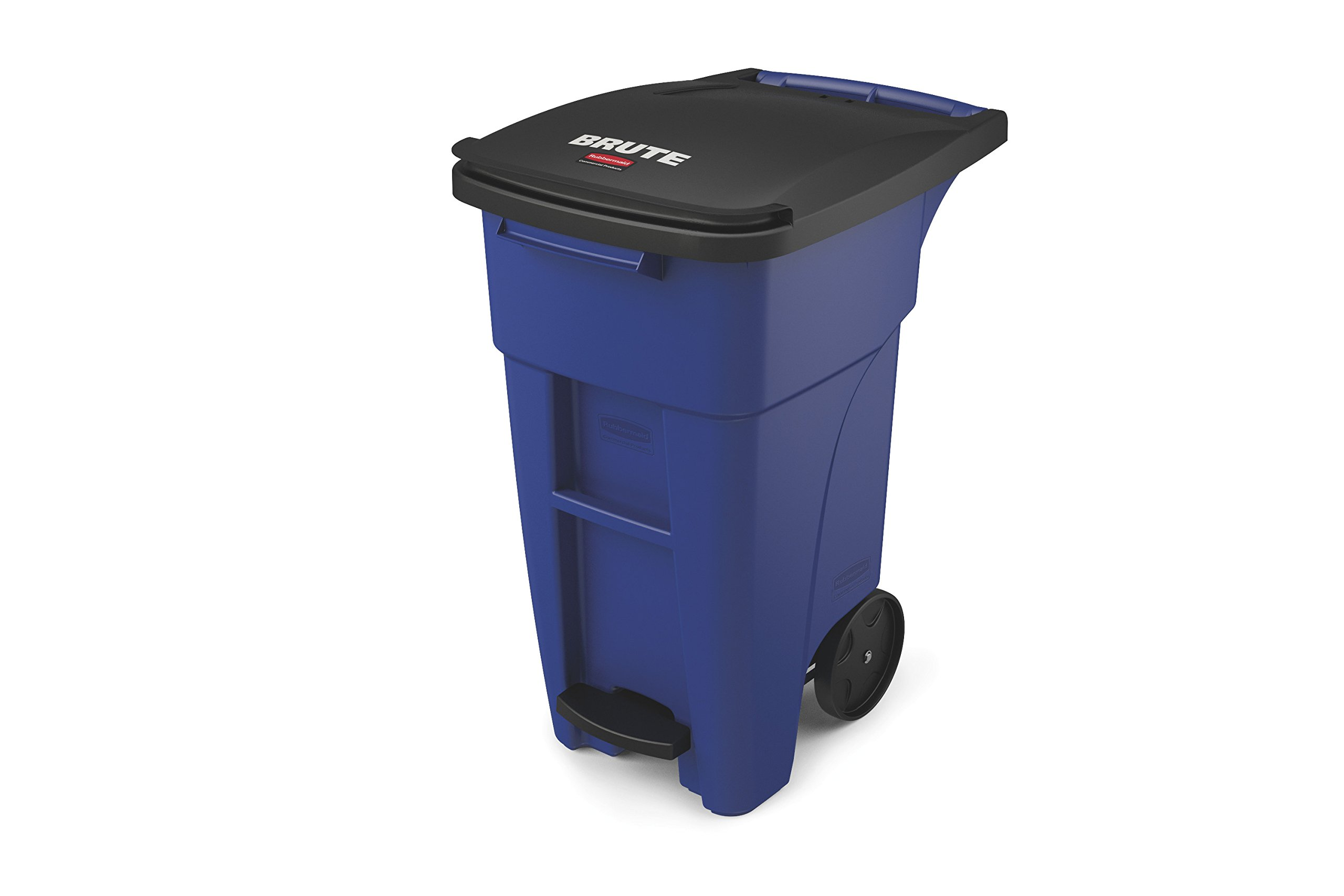 Rubbermaid Commercial 1971958 Brute Step-On Rollout Trash Can, 50 gal/189 L, 39.578'' Height, 24.000'' Width, Blue