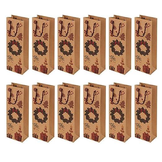 Regalos Comuniones y Recuerdos para Cumplea/ños Bolsas para Detalles Originales Invitados de Bautizo Estuches Lote de 24 Bolsas para Botella de Vino Kraft con Ventana