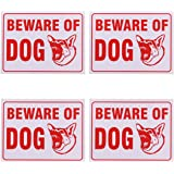 Beware Of Dog Sign 9 x 12 Inch - 4 Pack
