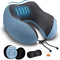 DYD Reisekissen Memory Foam Nackenkissen für Flugzeuge Atmungsaktiv und waschbar Velourbezug Ergonomisches Nackenstützkissen mit Schlafmaske und Ohrstöpseln