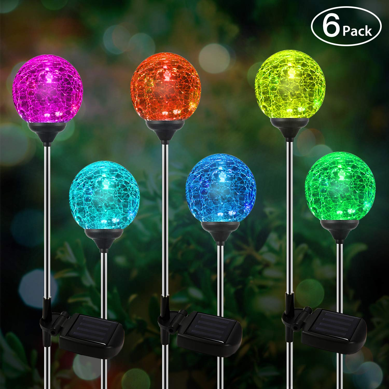Solar Globe Lights, OxyLED 6 Pack Crystal Glass LED Light/Solar Stake Light, Color-Changing Outdoor Landscape Garden Light Decoration, Halloween Christmas Garden Decor by OxyLED