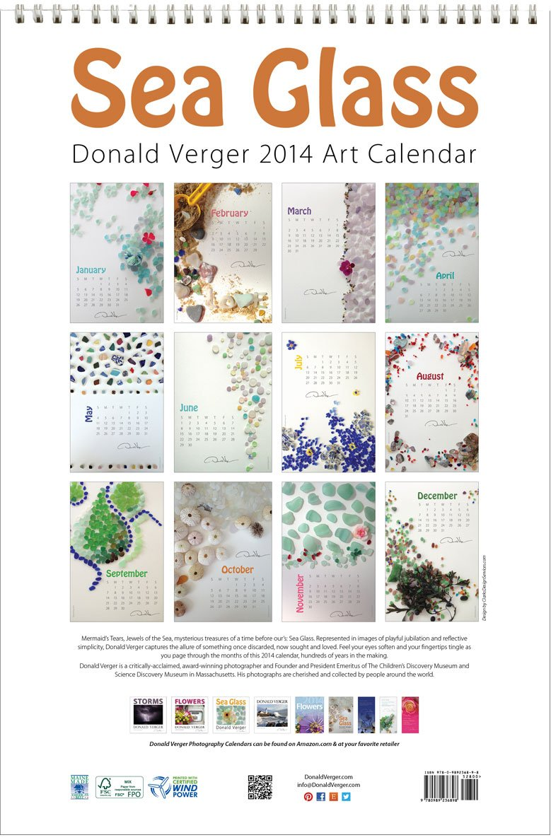 Donald Verger 2014 Sea Glass 12''x18'' Deluxe Large Format Wall Fine Art Nature Calendar - Wiro bound - a unique Valentines Day, Mothers Day, Fathers Day, and Birthday gift