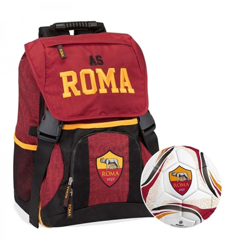 Schoolpack Mochila extensible A.S. Roma con balón + Estuche 3 ...